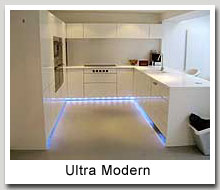 ... Cabinets Blue Neon Lighted White Modern Kitchen Units